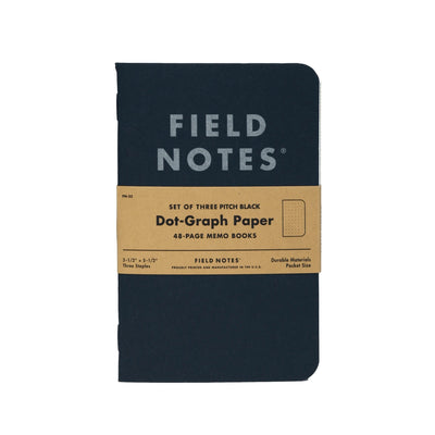 Field Notes Pitch Black Memo - Dot Graph - Notegeist dot com