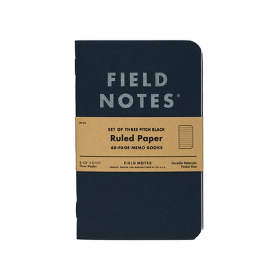 Field Notes Pitch Black Memo - Ruled Paper - Notegeist dot com