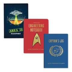 Unemployed Philosophers Guild Passport Notebooks - Science Fiction Three-Pack Covers - Notegeist dot com