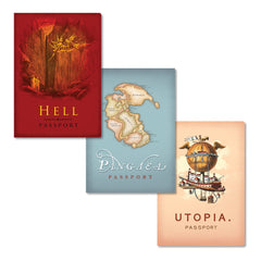Unemployed Philosophers Guild Passport Notebooks - Travel Fantasy Three-Pack - Covers - Notegeist dot com