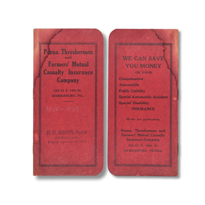 Vintage Memo Book - Penna Threshermen - 1938-39 - Notegeist dot com