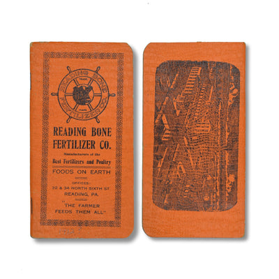 Vintage Memo Book - Reading Bone Fertilizers - Bright Orange Cover - c1912 - Notegeist dot com