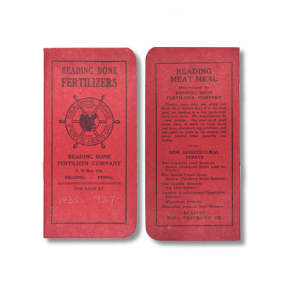 Vintage Memo Book - Reading Bone Fertilizers - Red Cover - 1936-37 - Notegeist dot com