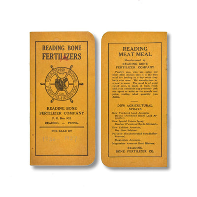 Vintage Memo Book - Reading Bone Fertilizers - Orange Cover - 1936-37 - Notegeist dot com