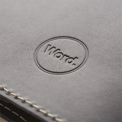 Word. Leather Notebook Sleeve - Black - Rear Cover Embossed Logo
