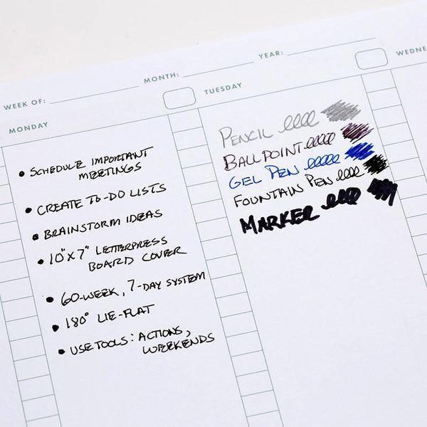 Write Notepads Weekly Planner - Page Test - Notegeist dot com