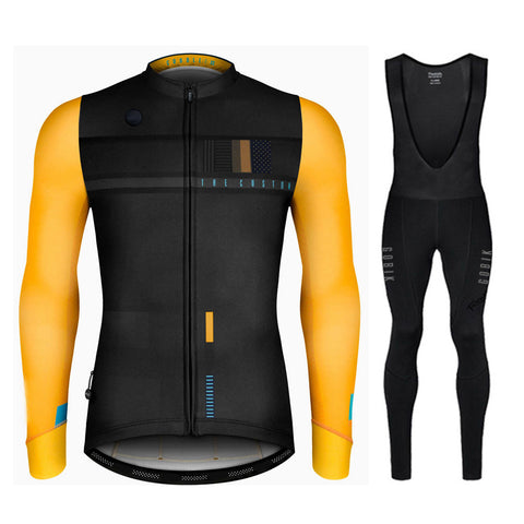 Men's Spring Long Sleeve Cycling Jersey & Bib Tight Set