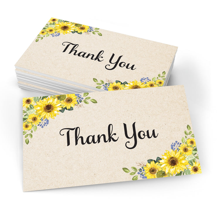 Thank You Note Cards - 3x5- Sunflower, Tan