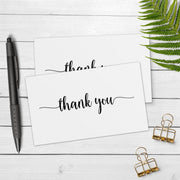 Thank You Note Cards - 3x5 - Simple Script, White