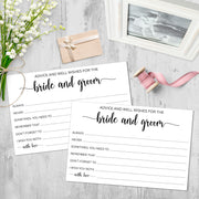 Advice and Wishes for the Bride and Groom - Simple Script, White