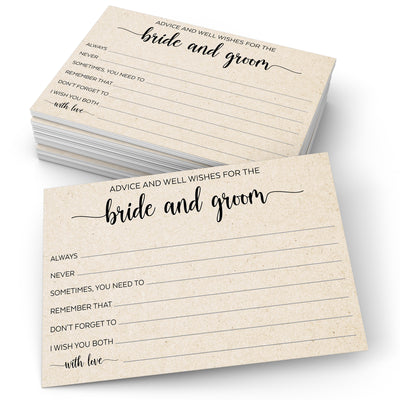 Advice and Wishes for the Bride and Groom - Simple Script, Tan