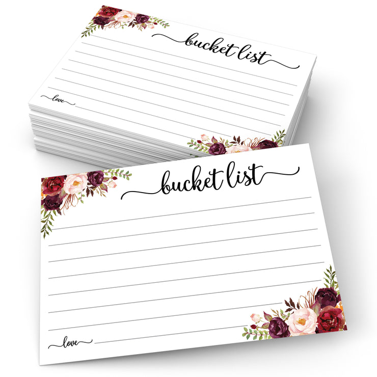 Bucket List Cards - Red Roses, White