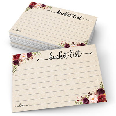 Bucket List Cards - Red Roses, Tan