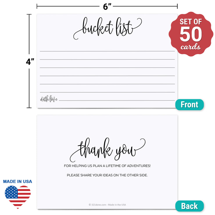 Bucket List Cards - Modern Scribble, White