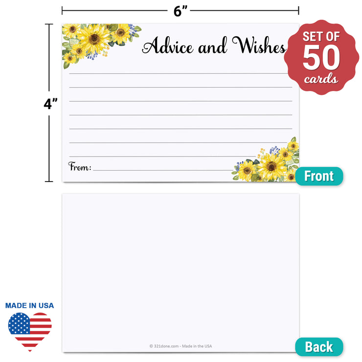 Advice and Wishes Cards - Sunflower, White