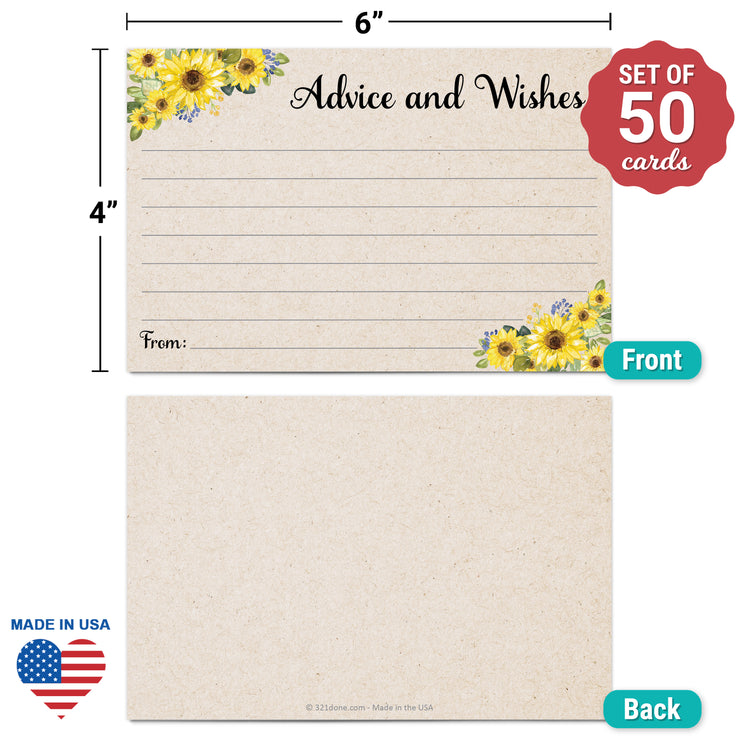 Advice and Wishes Cards - Sunflower, Tan