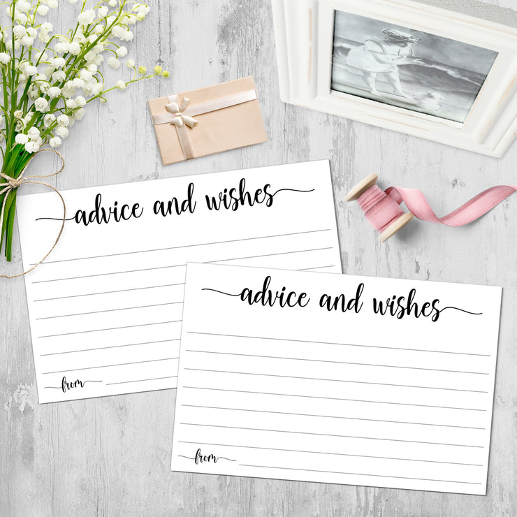 Advice and Wishes Cards - Simple Script, White