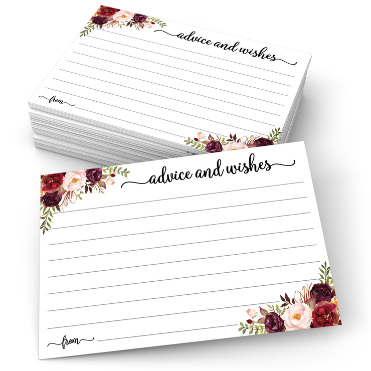 Advice and Wishes Cards - Red Roses, White