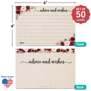 Advice and Wishes Cards - Red Roses, Tan