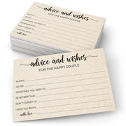Advice and Wishes for the Happy Couple Cards - Simple Script, Tan