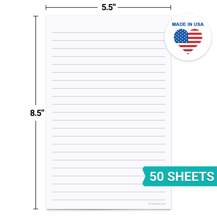 Lined Notepad, College-Ruled - 5.5x8.5 - Plain