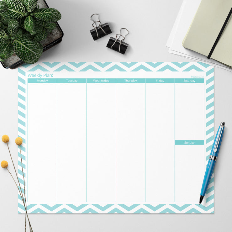 Weekly Plan Notepad Landscape - 8.5x11 - Chevron Teal