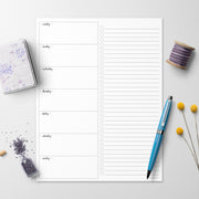 Weekly Plan Checklist Notepad, 8.5x11 - Simple Script (Monday Start)