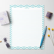 To Do Checklist Notepad, 8.5x11 - Chevron Teal