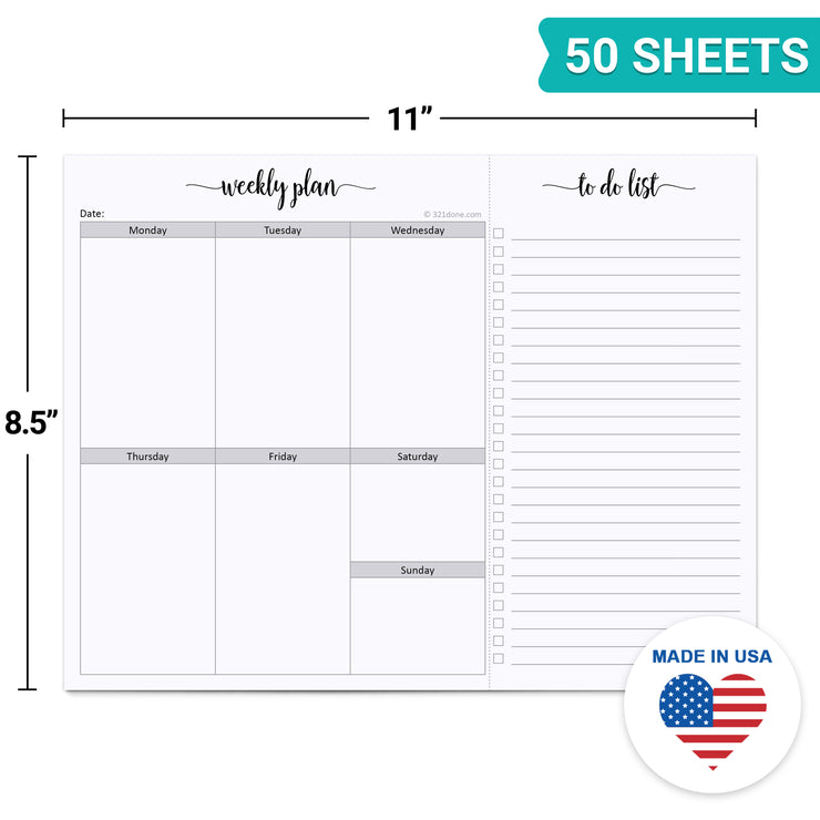 Weekly Planning Notepad with Perforated to Do List, 8.5x11 - Simple Script