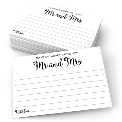 Advice and Wishes for the New Mr and Mrs - Curly Script, White