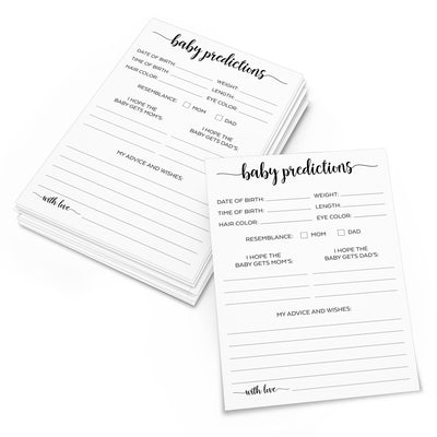 Baby Predictions and Advice Cards - Simple Script, White