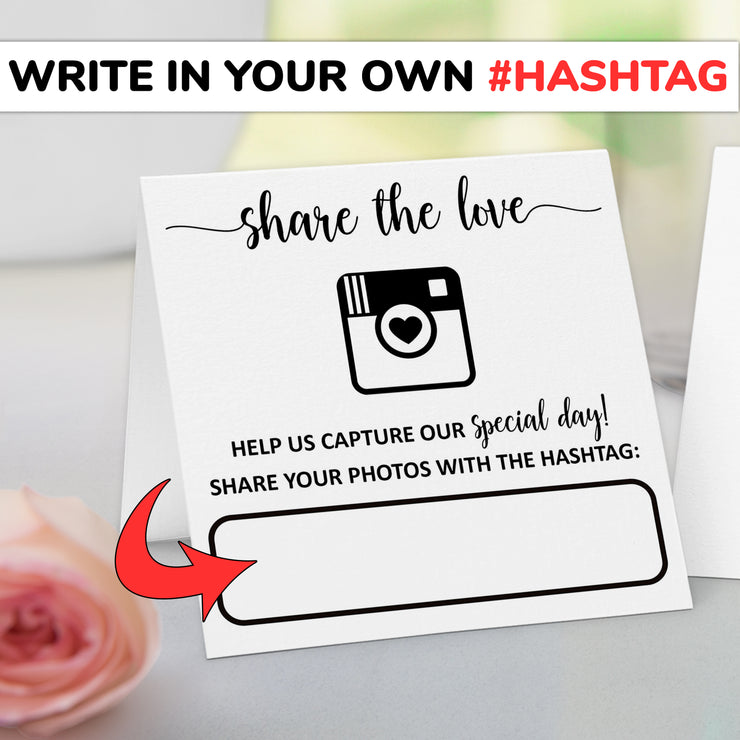 Folded Wedding Hashtag Signs - Share the Love, White