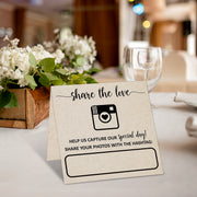 Folded Wedding Hashtag Signs - Share the Love, Tan