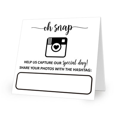Folded Wedding Hashtag Signs - Oh Snap, White