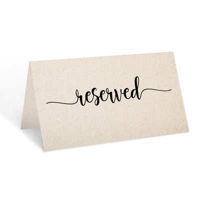 Reserved Place Cards - 3.5x2 - Simple Script, Tan