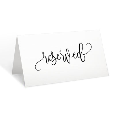 Reserved Place Cards - 3.5x2 - Modern Scribble, White