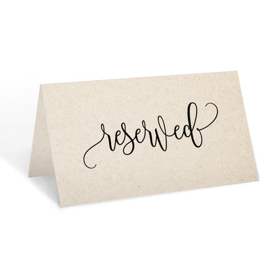 Reserved Place Cards - 3.5x2 - Modern Scribble, Tan