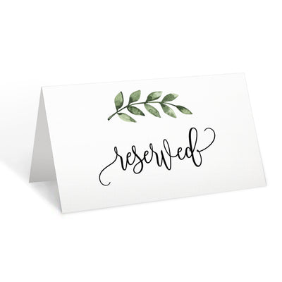 Reserved Place Cards - 3.5x2 - Green Leaves, White