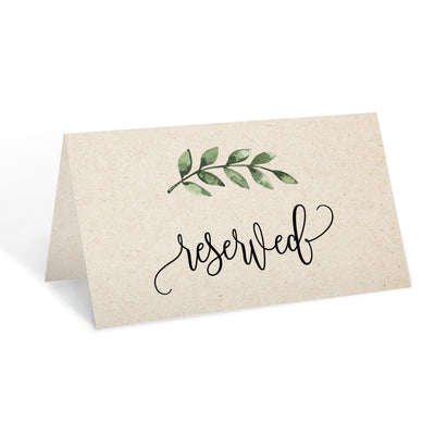 Reserved Place Cards - 3.5x2 - Green Leaves, Tan
