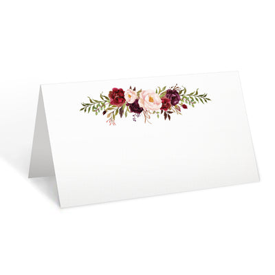 Blank Place Cards - 3.5x2 - Red Roses, White