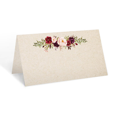 Blank Place Cards - 3.5x2 - Red Roses, Tan