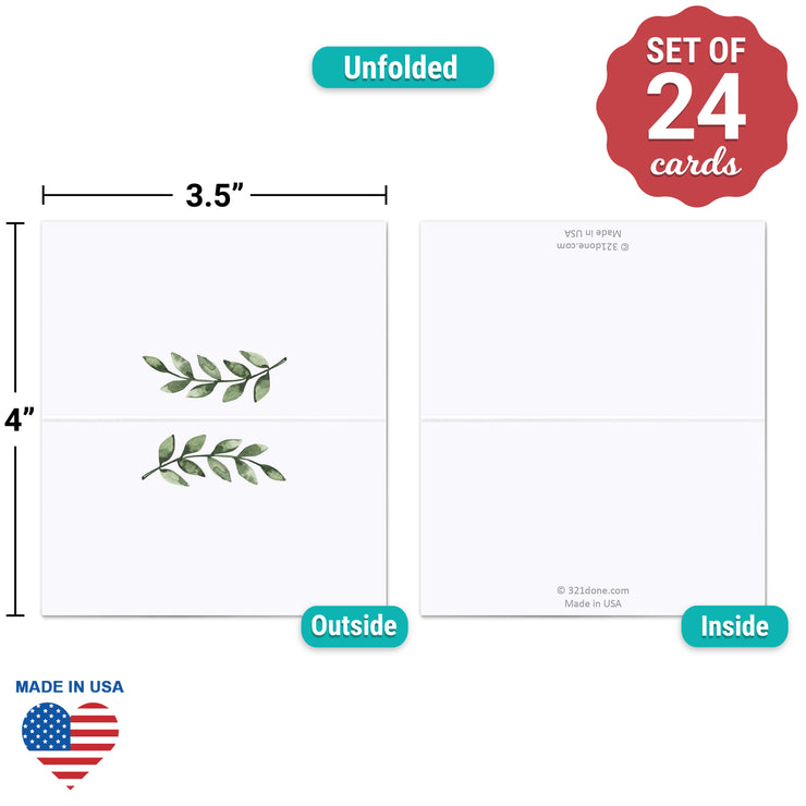 Blank Place Cards - 3.5x2 - Green Leaves, White
