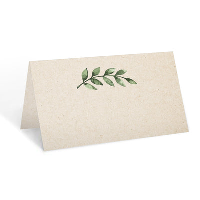 Blank Place Cards - 3.5x2 - Green Leaves, Tan