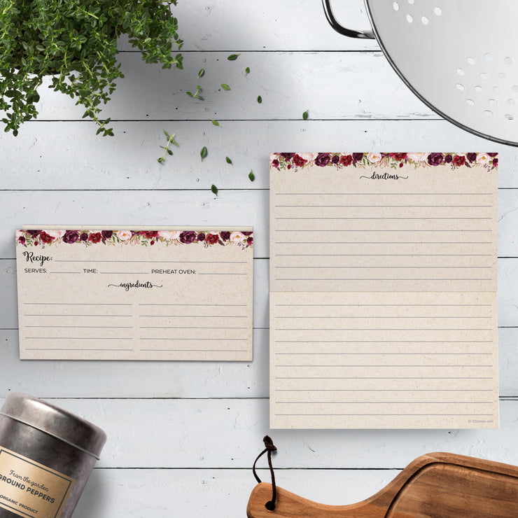 Folding Recipe Cards - 3x5 - Red Roses, Tan
