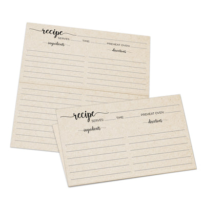 3x5 inch folding tan recipe cards. Order a set of 50 today. Simple script headers.