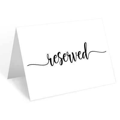 Reserved Place Cards - 4x6 - Simple Script, White