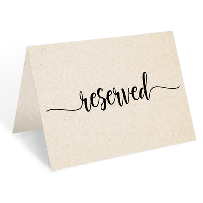 Reserved Place Cards - 4x6 - Simple Script, Tan