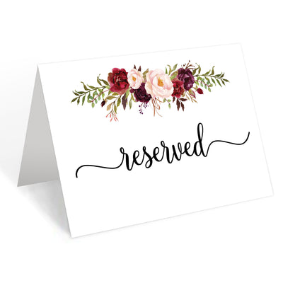 Reserved Place Cards - 4x6 - Red Roses, White