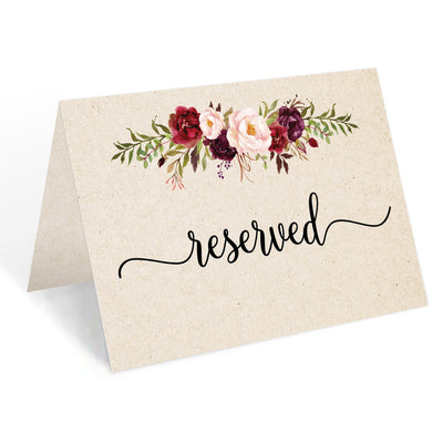 Reserved Place Cards - 4x6 - Red Roses, Tan