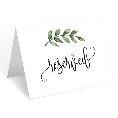 Reserved Place Cards - 4x6 - Green Leaves, White